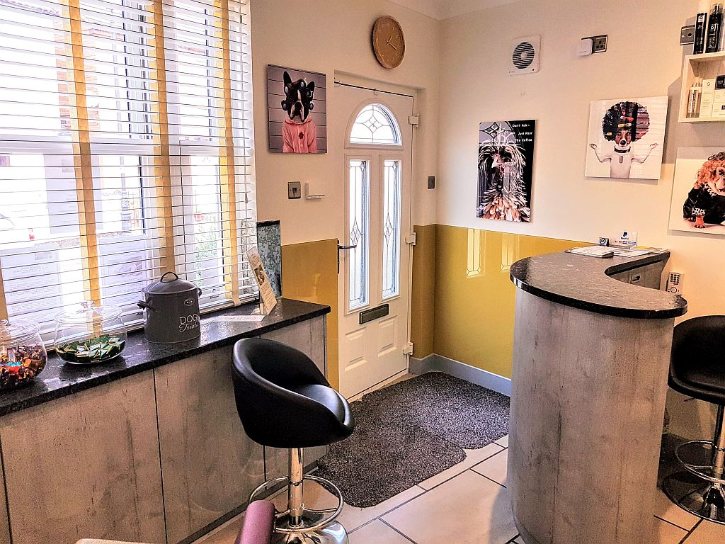 Entrance to Cabelo hair salon in Limes Road, Tettenhall