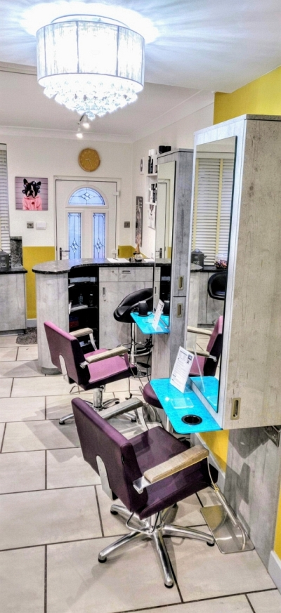 Chairs inside Cabelo hair salon in Limes Road, Tettenhall